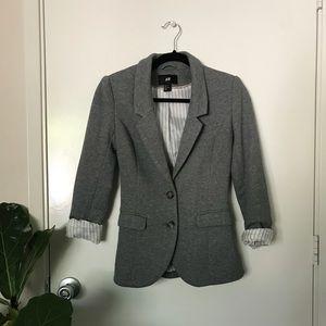 H&M Grey Knit Blazer w/ Elbow Patches   US 4 Small